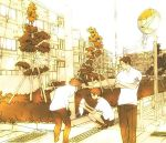 3boys apartment cat furudori_yayoi konno_makoto koutarou_(artist) male_focus mamiya_chiaki monochrome multiple_boys redhead school_uniform serafuku short_hair toki_wo_kakeru_shoujo tsuda_kousuke yellow