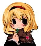 1girl alice_margatroid chibi female futami_yayoi lip_balm lipstick makeup smile solo touhou