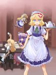 3girls alice_margatroid alternate_costume anger_vein annoyed apron blonde_hair blue_eyes book bookshelf chair cosplay cup enmaided female hat izayoi_sakuya izayoi_sakuya_(cosplay) kirisame_marisa library maid maid_apron maid_headdress mikagami_hiyori multiple_girls no_hat no_headwear patchouli_knowledge purple_hair shanghai_doll standing tea_set teacup teapot touhou tray violet_eyes voile yellow_eyes