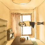 1girl food fruit kurumaebi living_room orange orange_(color) original room school_uniform serafuku solo television what window
