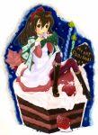 00s 1girl bow cake candle christmas food fruit icing kino kino_no_tabi marumi_(sjohast) pantyhose pastry ribbon strawberry