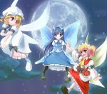 3girls :d blonde_hair blue_dress blue_hair dress fairy fairy_wings female flying frills full_body full_moon hat looking_at_viewer looking_back luna_child mob_cap moon multiple_girls open_mouth perfect_memento_in_strict_sense puffy_short_sleeves puffy_sleeves red_dress short_sleeves side_ponytail smile star_sapphire sunny_milk touhou wapokichi white_dress wings