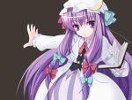 1girl book bow brown_background female hair_bow hat long_hair outstretched_arm outstretched_hand patchouli_knowledge purple_hair solo touhou triangle_mouth violet_eyes wapokichi