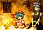 2girls :o ^_^ ^o^ alucard_(hellsing) blue_dress blush bow bowtie candle candlestand closed_eyes crossover cup dress green_bow green_bowtie hands_together hellsing indoors izayoi_sakuya looking_at_another looking_to_the_side maid maid_headdress multiple_girls mystia_lorelei photo_(object) puffy_short_sleeves puffy_sleeves remilia_scarlet short_sleeves table teacup teapot touhou v_arms vampire wax