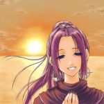 1girl 90s chrono_(series) chrono_trigger crote nail_polish ponytail purple_nails schala_zeal smile solo sun sunset wind