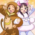2girls cosplay futari_wa_precure_splash_star haruyama_kazunori hyuuga_saki lowres mishou_mai multiple_girls one_eye_closed precure v v_over_eye wink