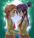 2girls eyebrows futari_wa_precure_splash_star hyuuga_saki mishou_mai multiple_girls precure school_uniform serafuku thick_eyebrows yuri