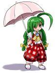 1girl ahoge ascot braid cosplay female green_eyes green_hair hirosato huge_ahoge kazami_yuuka kazami_yuuka_(cosplay) me-tan os-tan pants plaid plaid_pants plaid_vest solo touhou twin_braids umbrella