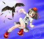1girl bird des female geta hat looking_at_viewer shameimaru_aya solo tengu-geta touhou