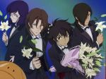 4boys allelujah_haptism angry black_hair blue_eyes blue_hair bouquet bow bowtie brown_hair dark_skin flower formal frown grey_eyes gundam gundam_00 hair_over_one_eye haro lily_(flower) lockon_stratos male_focus morishita_hiromitsu multiple_boys official_art one_eye_closed red_eyes scan setsuna_f_seiei short_hair smile suit tieria_erde wink