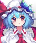 1girl :d ascot bat_wings blue_flower blue_hair blue_rose commentary_request dress flower grey_background hat highres light_blush looking_at_viewer mob_cap open_mouth red_eyes red_neckwear remilia_scarlet rose short_hair simple_background smile solo touhou upper_body white_dress wings yuujin_(yuzinn333)