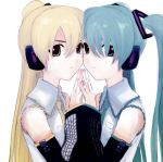 2girls akita_neru aqua_eyes aqua_hair bare_shoulders blonde_hair detached_sleeves hair_ornament hatsune_miku headphones kawamura_rukanan long_hair multiple_girls necktie side_ponytail symmetry twintails vocaloid yellow_eyes