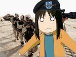 animated animated_gif azumanga_daioh cosplay crossover hat iraq kasuga_ayumu lowres military muhammad_saeed_al-sahhaf muhammad_saeed_al-sahhaf_(cosplay) shouting war