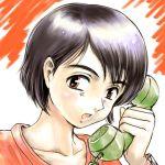 black_hair payphone phone red_eyes short_hair