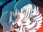 1girl closed_eyes dies_irae g_yuusuke game_cg hands_clasped himuro_rea praying robe short_hair silver_hair solo