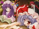 3girls bat_wings blue_hair book bookshelf demon_girl demon_tail dress female hat head_wings indoors koakuma long_hair multiple_girls patchouli_knowledge purple_hair red_eyes redhead remilia_scarlet ribbon short_hair tail the_embodiment_of_scarlet_devil touhou upper_body violet_eyes wallpaper wings yamu_(reverse_noise)