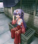 1girl box donation_box hakama hanyuu higurashi_no_naku_koro_ni horns japanese_clothes miko patorishia patricia_(stylish_marunage) red_hakama solo