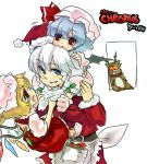 4girls christmas female flandre_scarlet frills fur_trim hat hong_meiling izayoi_sakuya long_sleeves looking_at_viewer maid_headdress mob_cap multiple_girls red_eyes remilia_scarlet santa_costume side_ponytail silver_hair simple_background sister sweatdrop the_embodiment_of_scarlet_devil touhou white_background wings