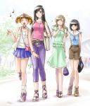 00s 4girls :o arms_behind_back bag belt capri_pants casual cross-laced_footwear denim dress fukuzawa_yumi handbag jeans legs maria-sama_ga_miteru midriff moe multiple_girls music musical_note nijou_noriko ogasawara_sachiko pants pencil_skirt quaver same sandals shoes shorts singing skirt smile sneakers thigh_gap toudou_shimako twintails