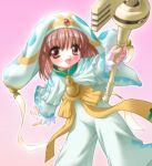 .hack// .hack//tasogare_no_udewa_densetsu 00s 1girl bandai cyber_connect_2 hat highres mireille_(.hack//) osaka_yoshiya short_hair solo staff