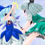 /\/\/\ 2girls bow cirno failure female hair_ribbon kabutoyama katana konpaku_youmu multiple_girls oekaki ribbon sword sword_stop touhou weapon you're_doing_it_wrong