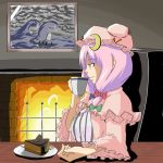 1girl bow cake crescent crescent_hair_ornament expressionless female fireplace food fork hair_ornament hat long_hair looking_away parted_lips pastry patchouli_knowledge pink_bow plate profile purple_hair slice_of_cake solo touhou