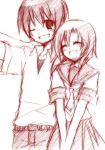 1boy 1girl couple hetero higurashi_no_naku_koro_ni maebara_keiichi monochrome pink ryuuguu_rena school_uniform serafuku suzushiro_kurumi