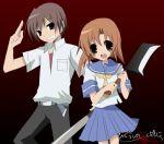 1boy 1girl baseball_bat billhook couple hatchet hetero higurashi_no_naku_koro_ni maebara_keiichi ryuuguu_rena school_uniform serafuku suzushiro_kurumi
