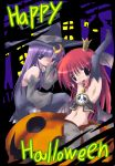 2girls alternate_costume armpits crescent female halloween happy_halloween hat head_wings koakuma midriff multiple_girls patchouli_knowledge pumpkin the_embodiment_of_scarlet_devil touhou witch_hat