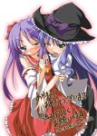 blue_hair blush cosplay crossover hakurei_reimu hakurei_reimu_(cosplay) hat hiiragi_kagami izumi_konata kirisame_marisa kirisame_marisa_(cosplay) ko-chin long_hair lucky_star purple_hair touhou witch witch_hat