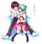 00s 1boy 1girl blush couple doll hetero higurashi_no_naku_koro_ni maebara_keiichi rozen_maiden shinku skirt smile sonozaki_mion translated