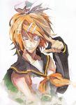 angry banpai_akira blonde_hair blue_eyes glowing glowing_eyes just_as_planned kagamine_rin microphone ribbon school_uniform serafuku short_hair vocaloid