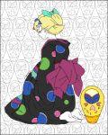1girl blonde_hair daruma_doll from_behind hair_ornament japanese_clothes kanzashi kimono lowres mononoke obi patterned_background pregnant sash seiza shino_(mononoke) sitting solo