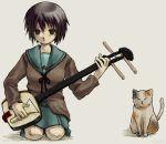 1girl cat cochi instrument nagato_yuki plectrum shamisen shamisen_(suzumiya_haruhi) solo suzumiya_haruhi_no_yuuutsu