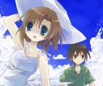 1boy 1girl couple dress hat hetero higurashi_no_naku_koro_ni maebara_keiichi ryuuguu_rena suzushiro_kurumi