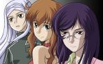 1boy 2girls :o androgynous bad_id bare_shoulders blush choker christina_sierra closed_mouth expressionless glasses gradient gradient_background green_eyes gundam gundam_00 long_hair looking_at_viewer multiple_girls parted_lips purple_hair red_eyes rimless_glasses shigarami_kyouma smile soma_peries tieria_erde upper_body veil