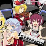 3girls drum drum_set female headphones instrument keyboard keyboard_(instrument) lunasa_prismriver lyrica_prismriver merlin_prismriver multiple_girls siblings sisters touhou trumpet violin