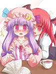 2girls breast_grab breasts female grabbing head_wings koakuma multiple_girls patchouli_knowledge ry small_breasts the_embodiment_of_scarlet_devil touhou yuri