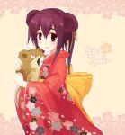 00s 1girl 2008 animal_ears blush bow holding japanese_clothes kimono mouse mouse_ears new_year open_mouth pokemon ponytail purple_hair raticate ribbon smile solo violet_eyes yukitarou_(awamori)