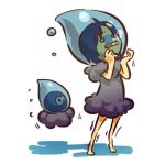 00s 1girl alternate_color alternate_costume asphyxiation barefoot blue_hair castform costume drowning feet hitec moemon nintendo o_o peril personification pokemon pokemon_(game) pokemon_rse short_hair simple_background solo toes trembling water white_background