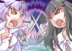 2girls battle female fujiwara_no_mokou houraisan_kaguya lowres mecha multiple_girls nyagakiya rivalry touhou