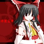 1girl ascot black_hair bow character_name detached_sleeves eyebrows female gohei hair_bow hair_tubes hakurei_reimu looking_at_viewer red_background red_bow red_eyes ribbon-trimmed_sleeves ribbon_trim shide side_b solo touhou upper_body