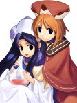 2girls :d alchemy atelier_(series) atelier_iris atelier_iris_2 atelier_iris_eternal_mana_2 beret blue_eyes brown_hair capelet closed_mouth dress female glass gust hat highres iris_blanchimont liquid long_sleeves looking_at_viewer multiple_girls open_mouth ouse_kohime short_hair simple_background smile viese_blanchimont white_background white_dress