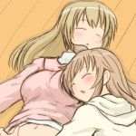 2girls ahoge breast_pillow brown_hair closed_eyes long_hair minami-ke minami_chiaki minami_haruka multiple_girls yuuichi_(tareme_paradise)