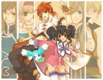 3boys 3girls anise_tatlin black_hair copyright_name gloves guy_cecil jade_curtiss kurot luke_fon_fabre mieu multiple_boys multiple_girls natalia_luzu_kimlasca_lanvaldear redhead ribbon tales_of_(series) tales_of_the_abyss tear_grants thigh-highs tokunaga twintails