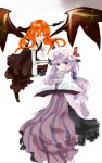 2girls book demon_girl dress female head_wings koakuma multiple_girls patchouli_knowledge redhead shunsei_(muratou) the_embodiment_of_scarlet_devil touhou wings