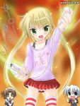 1boy 2girls ayasaki_hayate game_console green_eyes hayate_no_gotoku! maria_(hayate_no_gotoku!) multiple_girls sanzen'in_nagi thigh-highs watsuki_ayamo wii