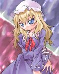 1girl blonde_hair blue_eyes collar dress female ghostly_field_club hat head_tilt long_sleeves looking_at_viewer looking_back lowres maribel_hearn mob_cap nyagakiya purple_dress red_ribbon ribbon ribbon-trimmed_collar ribbon-trimmed_sleeves ribbon_trim serious solo touhou