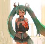 1girl bad_id detached_sleeves gift green_hair happy hatsune_miku holding holding_gift long_hair miniskirt niwa ribbon skirt smile solo twintails very_long_hair vocaloid window
