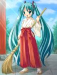 1girl aqua_hair broom hatsune_miku japanese_clothes long_hair miko outdoors red_hakama ryunnu sky solo twintails very_long_hair vocaloid